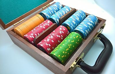 208 Piece Card Player Cruises Ceramic Poker Chip Set $1 to $25 Chipco With Case