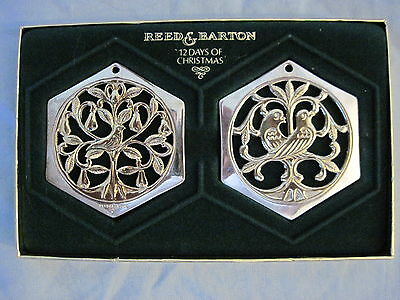 1983 Reed & Barton 12 Days Christmas 1 & 2 PARTRIDGE & TURTLE DOVES Ornaments