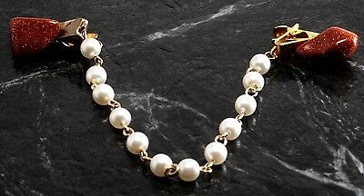 Vintage Sweater Clip Guard Faux Pearl Tumbled Gold Stone Ends Fashion Accessory