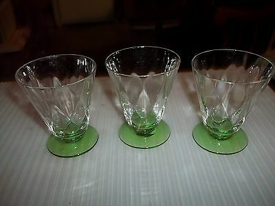 Vintage - Vaseline/uranium Glasses - Set Of 3 - Diamond Pattern