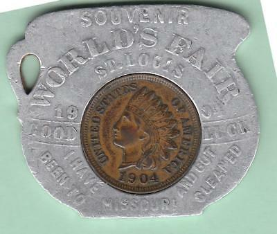 "1904 St Louis World's Fair Lucky Encased Cent ""Go Way Back & Sit Down"" Hit Song!"