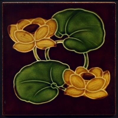 TH3137 Art Nouveau Majolica Tile Corn Bros c.1905