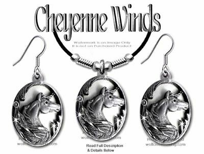 Cheyenne Winds Necklace & Earrings Set -  Horse Equestrian Horses Free Ship 24L