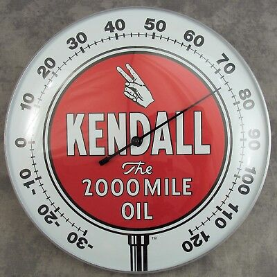 """Kendall The 2000 Mile Oil Thermometer 12"""" Round Glass Dome Sign"""