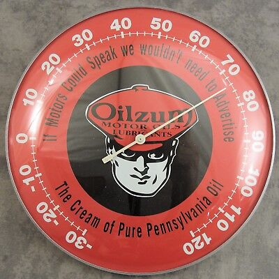 "Oilzum Motor Oil Man In Goggles Thermometer 12"" Round Glass Dome Sign"