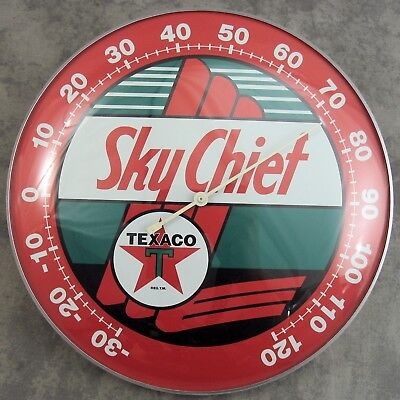 "Texaco™ Sky Chief Thermometer 12"" Round Glass Dome Sign"