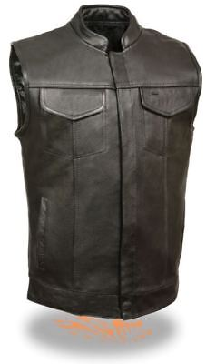 Milwaukee Leather Mens Premium Open Neck Club Vest w/Hidden Snaps Black
