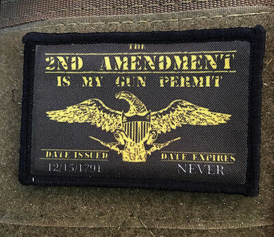 2A Morale Patch Gun permit Patriot Tactical Military USA Hook Badge Army Flag