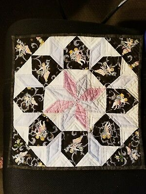"""Vintage 8-POINTED STRING STAR hand QUILTed BLOCK Hand 15"""" square Cupids Angel"""