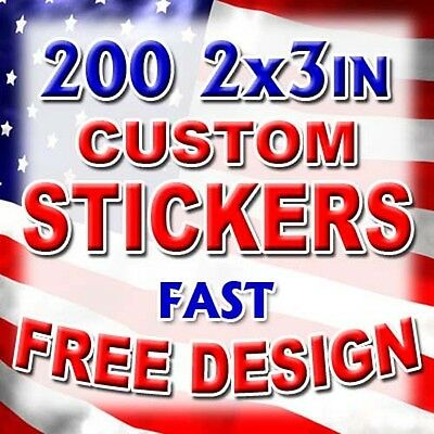 200 2x3 Custom Printed Full Color Vinyl Stickers Decals Company Product Labels