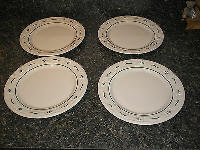 "Longaberger Pottery Woven Traditions Set of 4 HERITAGE GREEN 10""  Dinner Plates"