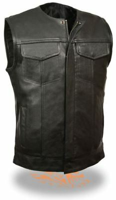 Milwaukee Leather Mens Premium Side Lace Snap/Zip Front Club Vest Black