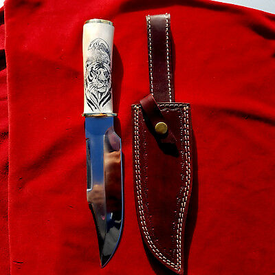 Scrimshaw Tiger Portrait, Large Fixed Blade Hunting knife with Sheath