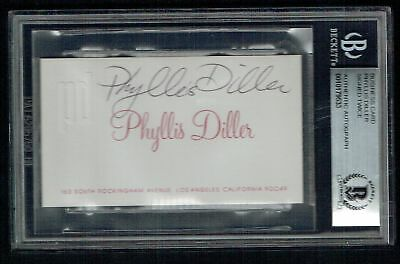 Phyllis Diller signed autograph auto Business Card DUAL Signed BAS Slabbed