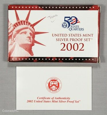 2002 United States Mint Silver Proof Set in Original Mint Packaging w/ COA