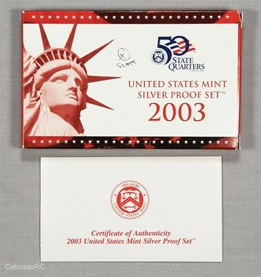 2003 United States Mint Silver Proof Set in Original Mint Packaging w/ COA