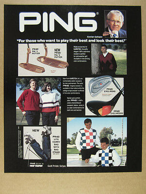 1989 Ping Eye 2 Irons PAL 4 6 Putters Golf Sweaters Bags photos vintage print Ad