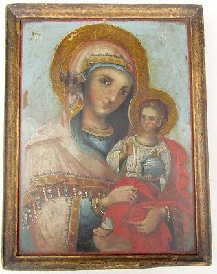 ANTIQUE 19th CENTURY FRAMED MOTHER OF GOD PAINTING ON WOOD PANEL RUSSIAN ICON