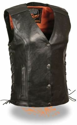 Milwaukee Leather Womens Vest w/Stud & Wings Detailing Black