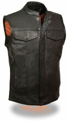 Milwaukee Leather Mens Open Neck Snap/Zip Front Club Style Vest Black