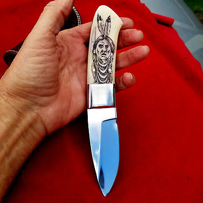 Scrimshaw Tribal Warrior Portrait, Large Fixed Blade Hunting knife with Sheath