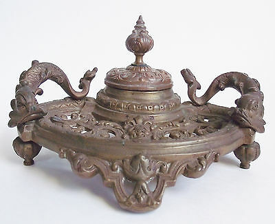 Antique 19th FRENCH BRONZE Figural DOLPHIN INKWELL Cast Footed INKSTAND France