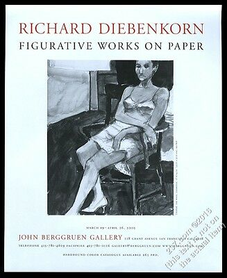 2003 Richard Diebenkorn woman drawing SFC art gallery vintage print ad