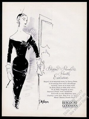1955 Harvey Berin black velvet dress art Bergdorf Goodman vintage print ad