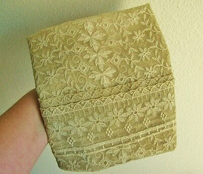 "Antique Vintage Lace Dresser Table Runner, 40"", Ecru Tan Beige"