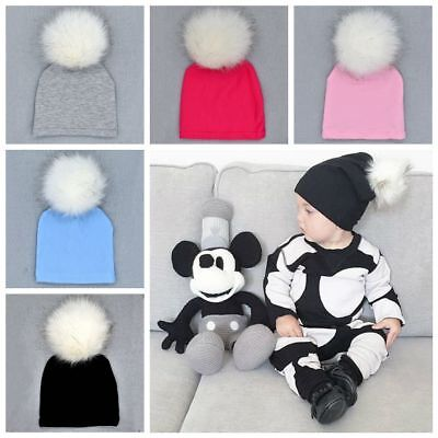 Newborn Baby Soft Cotton Hat Cap Beanie Lovely Fluffy Fur Ball Hat Winter Warm