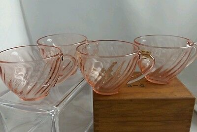 Arcoroc Vintage Rosaline Pink Swirl Coffee Cups
