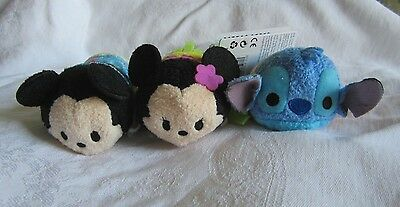 Disney Store Hawaii Exclusive Tsum Tsum Aloha Mickey Mouse Minnie and Stitch New