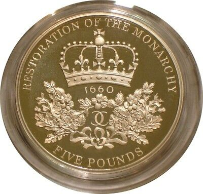 2010 RESTORATION OF THE MONARCHY Piedfort Silver 5 Five Pounds Great Britain GEM