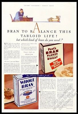 1931 Post's Bran Flakes and Whole Bran cereal 2 box photo vintage print ad