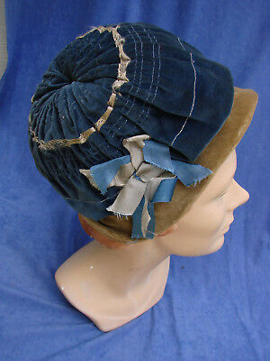 "Vintage 20s GIRLS Blue Velvet Hat Cloche 20.5"" Buttons"