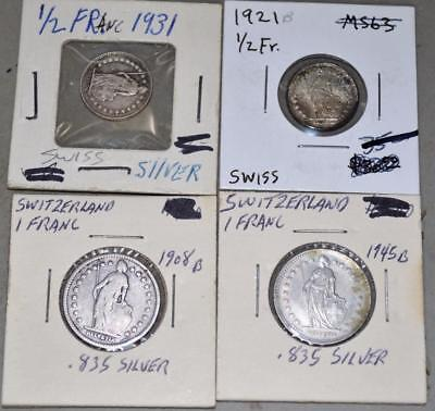 Switzerland Lot of 4 Silver Coins