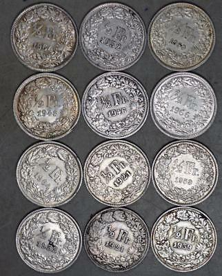 Switzerland 1/2 Franc Lot of 12 Silver Coins
