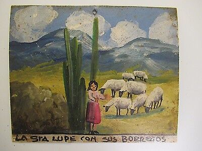 VTG 1970's SMALL MEXICAN HP TIN RETABLO SENORA LUPE AND HER SHEEPS IN THE VALLEY