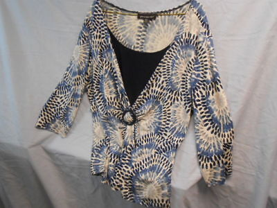 Women's Briggs New York Blue & White Pattern Embellished Blouse w/ Shell Insert