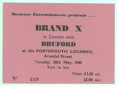 BRAND X BILL BRUFORD 5/20/80 Locarno UK Ticket Stub! Phil Collins Genesis Yes