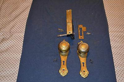 1 Set Antique Victorian Eastlake Brass Plate Door Knobs Faceplates Beautiful