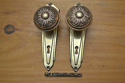 (1) Set Antique Victorian Eastlake Door Knobs Brass  Faceplates Beautiful