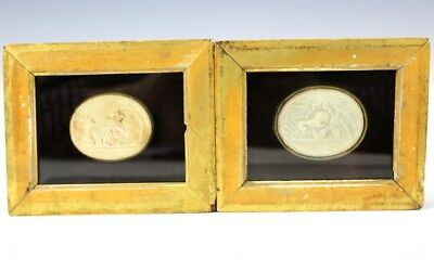 Pair of Antique Victorian Grand Tour Era Framed Intaglio Cameo Medallions LBW NR