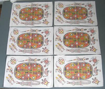 Retro/vintage Aboriginal print cloth/fabric placemat set x 6 -kangaroo