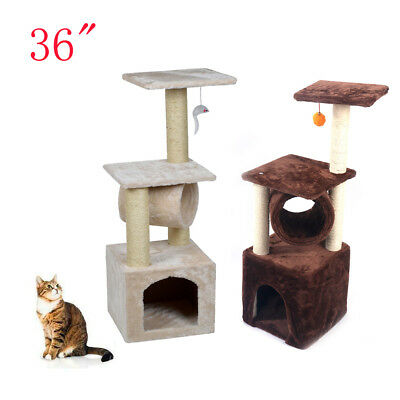 "36"" Cat Tree Tower Condo Furniture Scratching Post Pet Kitty Play House 2 Colors"