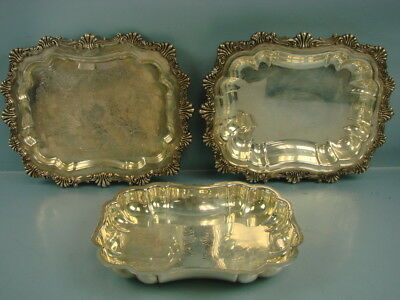VTG LOT of 3 1883 FB ROGERS SILVER CO SILVER PLATE LARGE DISH TRAYS
