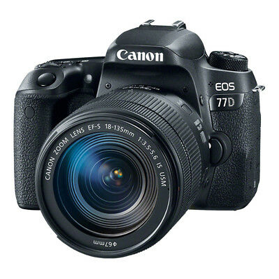 NEW Canon EOS 77D 24.2MP DSLR Camera + 18-135mm f/3.5-5.6 IS USM Lens BLACK
