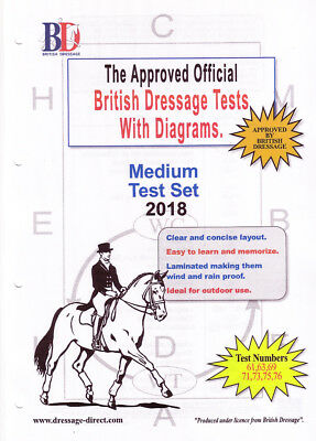 2018 MEDIUM TEST SET: Laminated British Dressage Tests with Diagrams
