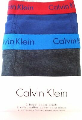 Calvin Klein Boys Boxer Briefs Size 16 18 Xl Navy And Charcoal 2 Pack