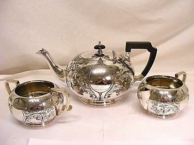 Antique Victorian Bright-Cut Engraved Silver Plated Tea Set - Sheffield 1895